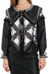 Embellished Black and White Leather Faux  Jacket