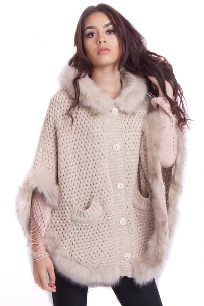Faux Fur Knitted Hood Poncho