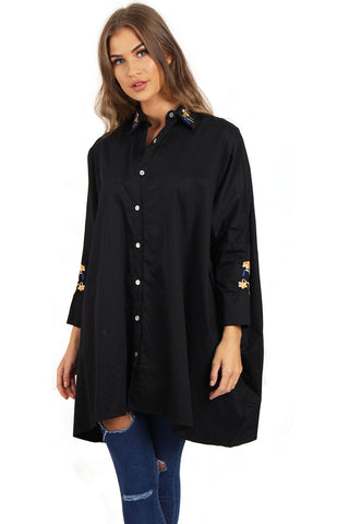 Floral Embroidered Batwing Oversized Shirt