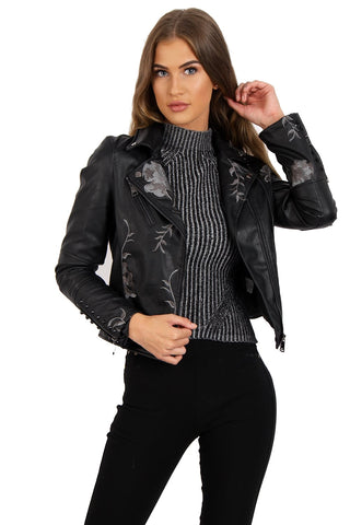 Grey Floral Embroidered Studded Detail Faux Leather Biker Jacket