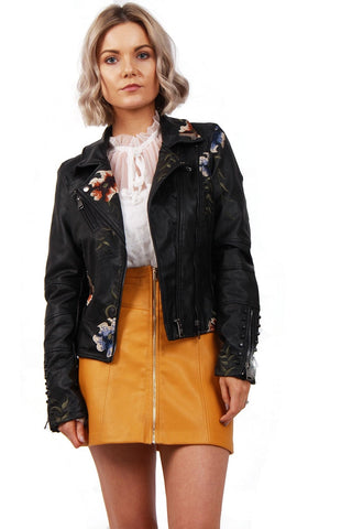 7aac84e85a80 Multi Color Black Floral Embroidered Studded Detail Faux Leather Biker  Jacket
