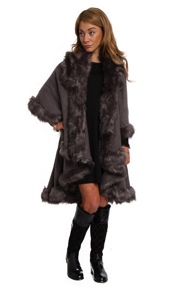 Fluffy Double Layered Faux Fur Trim Poncho