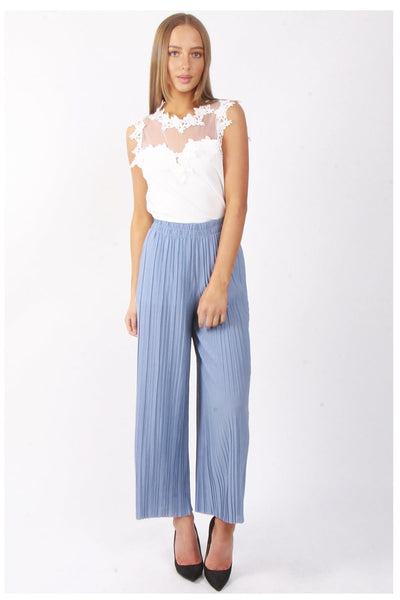 Full Length High Waist Pinstripe Pleated Culotte Trouser