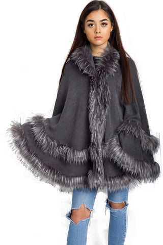 Knitted Double Layer Hooded Faux Fur Swing Cape Poncho