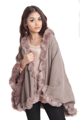 Knitted Soft Faux Fur Trim Poncho with Sleeves