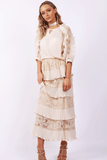 Lace Pleated Ruffle Maxi Skirt and Blouse Top Co-Ord Set