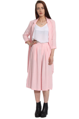 Linen Matching Longline Blazer and Culotte Co-Ord Set