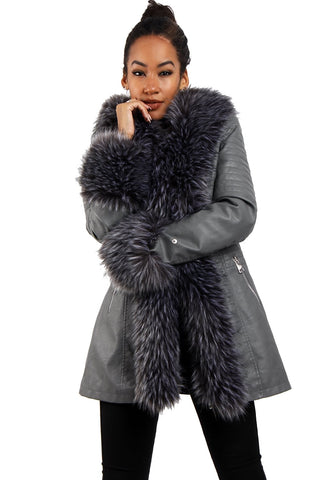 af3d72364c57 Long Faux Fur Hooded Long Biker Leather Coat Three Colors Available