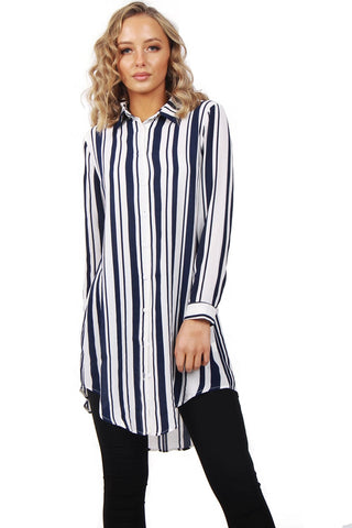 Long Sleeve Striped Shirt Dress With Curved Hem