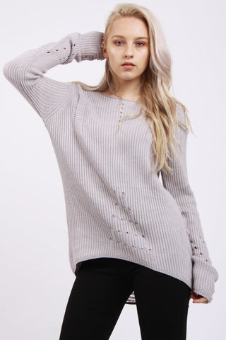 Longline Knit Jumper with Hole Sleeves Detail
