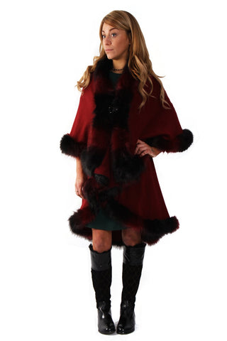 Luxurious Double Layered 2 Tones Faux Fur Cape with Leather Clasp