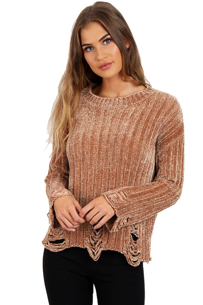 Oversized Soft Chenille Distressed Jumper