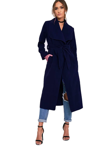 Oversized Wool Waterfall Trench Jacket Coat