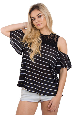 Pin Stripe Lace Insert Top In Stripe With Cold Shoulder