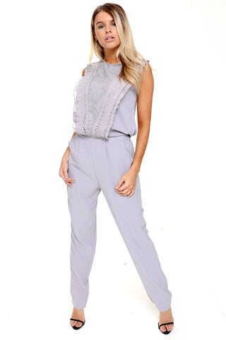 Pleated Ruffle Lace Detail Pocket Smart Jumpsuit