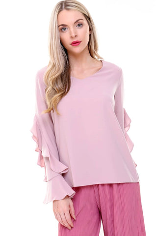 a97418d86ead4 V Neck Ruffle Waterfall Sleeve Blouse Top