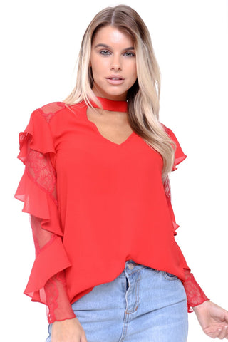 Ruffle Waterfall Lace Sleeve V Neck Choker Blouse Top