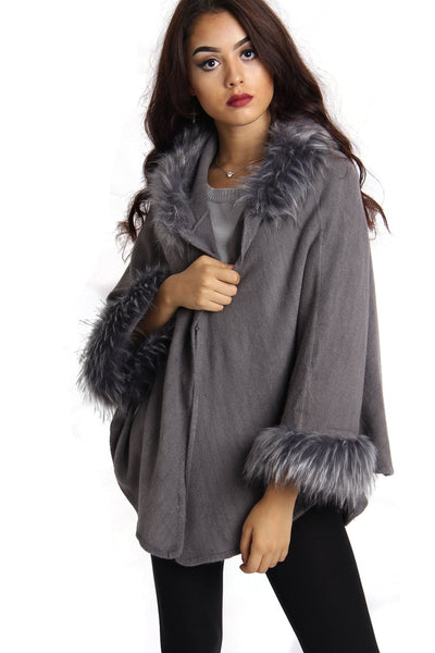 Short Faux Fur Cape With Sleeves