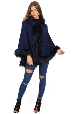 Short Poncho Cape with Faux Fur Hood Cuffs and Trim
