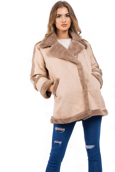 Suede Faux Fur Shearling Coat