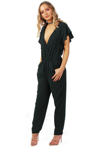V neck Lace Applique Back Straight Leg Jumpsuit