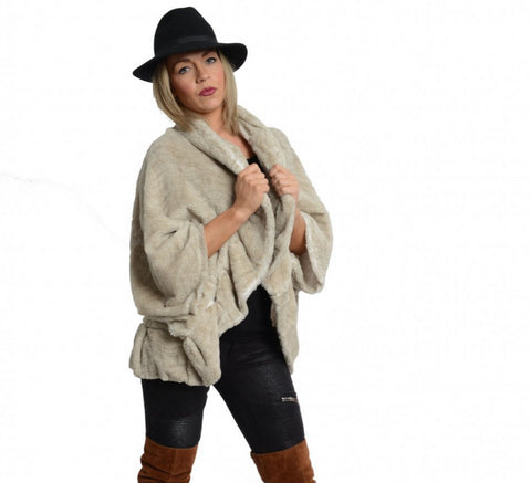 Wavy Textured Soft Touch Poncho