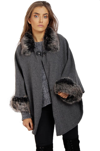 Wooly Faux Fur Collar Knitted Cape Buckle Poncho with Fur Cuffs