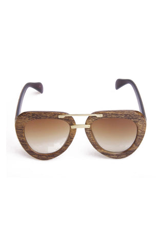 Round Aviator Wooden look frame sunglasses
