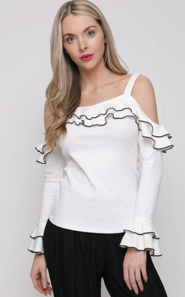Strappy Stretch Cotton Ruffle Detail Top