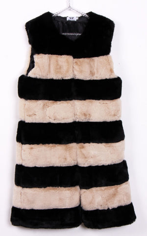 Longline Duo Colours Stripe Ultra Soft Faux Fur Leather Panelled Gilet