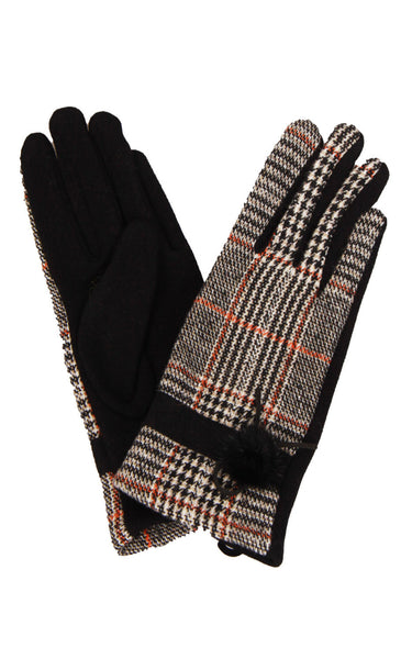 Orange/Brown Prince Of Wales Check Tartan Soft Jersey Gloves