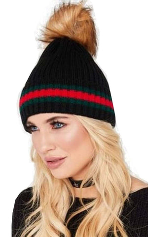 Green Red Stripe Faux Fur Pom Pom Knitted Beanie Hat