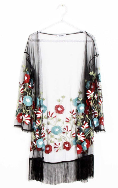 Turquoise Red Floral Embroidered Holiday Festival Tassel Trim Kimono