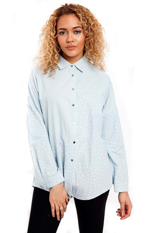 Pale Blue Denim Panel Heart Print Shirt