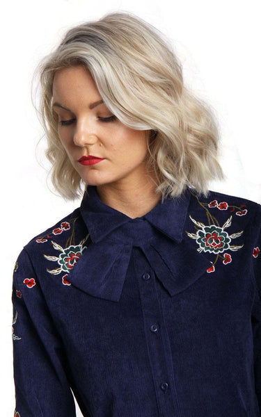 Felt Bow Collar Button Up Floral Embroidered Blouse Shirt