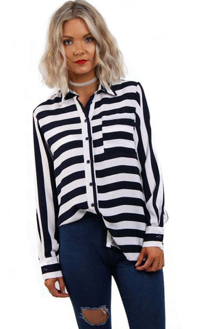 Long Sleeves Stripe Shirt Blouse With Front Pocket