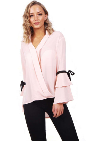 Ribbon Detail Sleeve Floaty Wrap Front Top