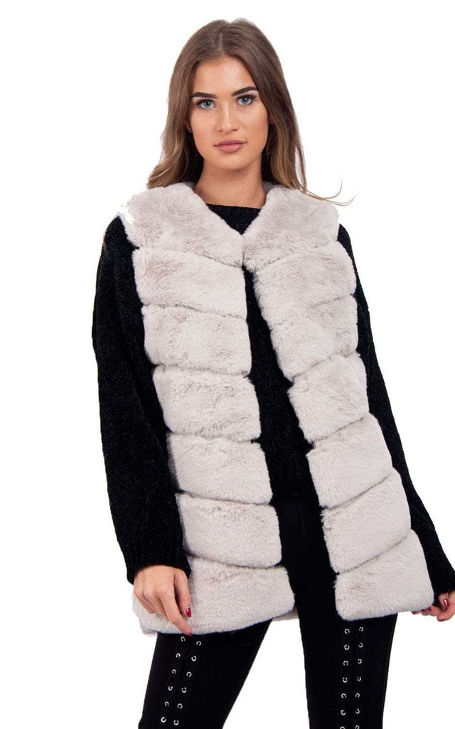 290bfc61c9e7 Ultra Soft Chevron Faux Rabbit Fur Leather Panel Gilet – Urban Mist UK