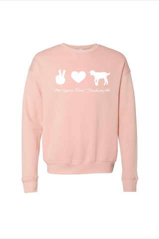 Peace, Love, Goats Peach Crewneck
