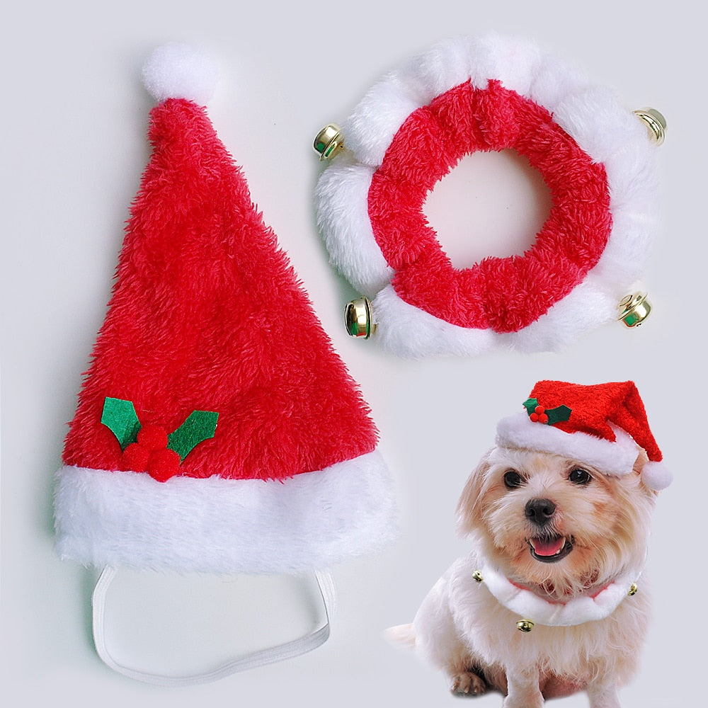 Christmas Hat.Pet Christmas Hat And Collar Set Costume Santa Hats Cap Necklace With Bell