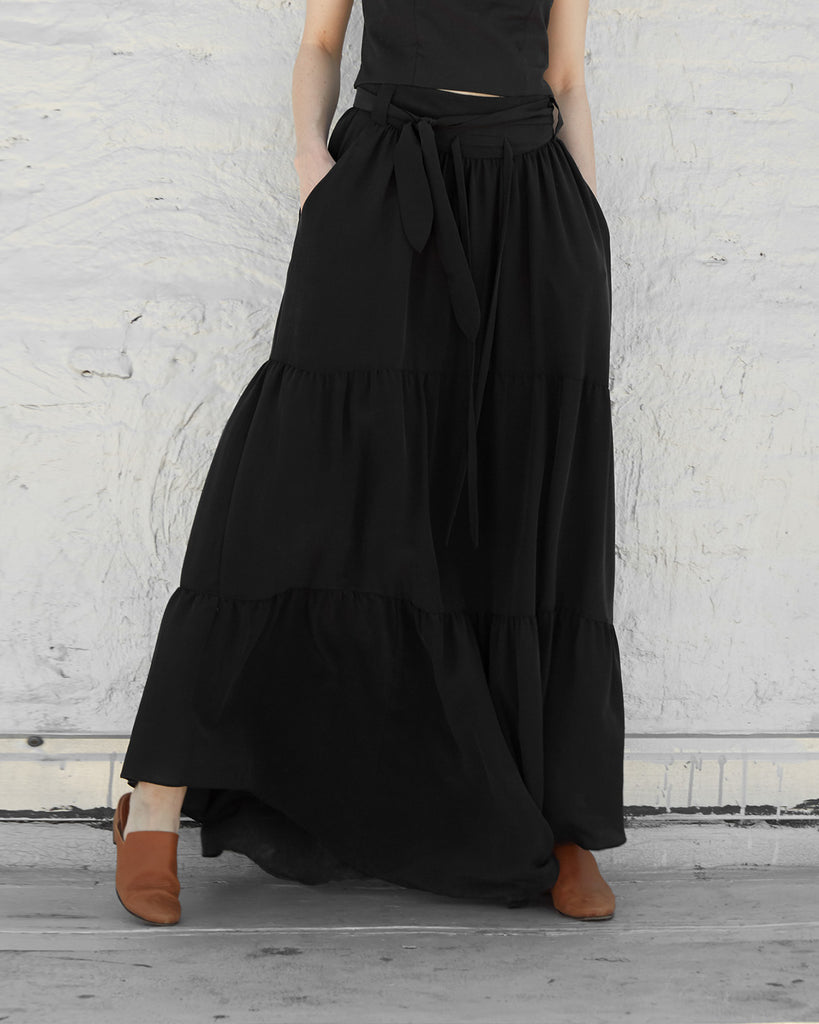 The Radah Maxi Skirt in Charcoal - INGA-LENA