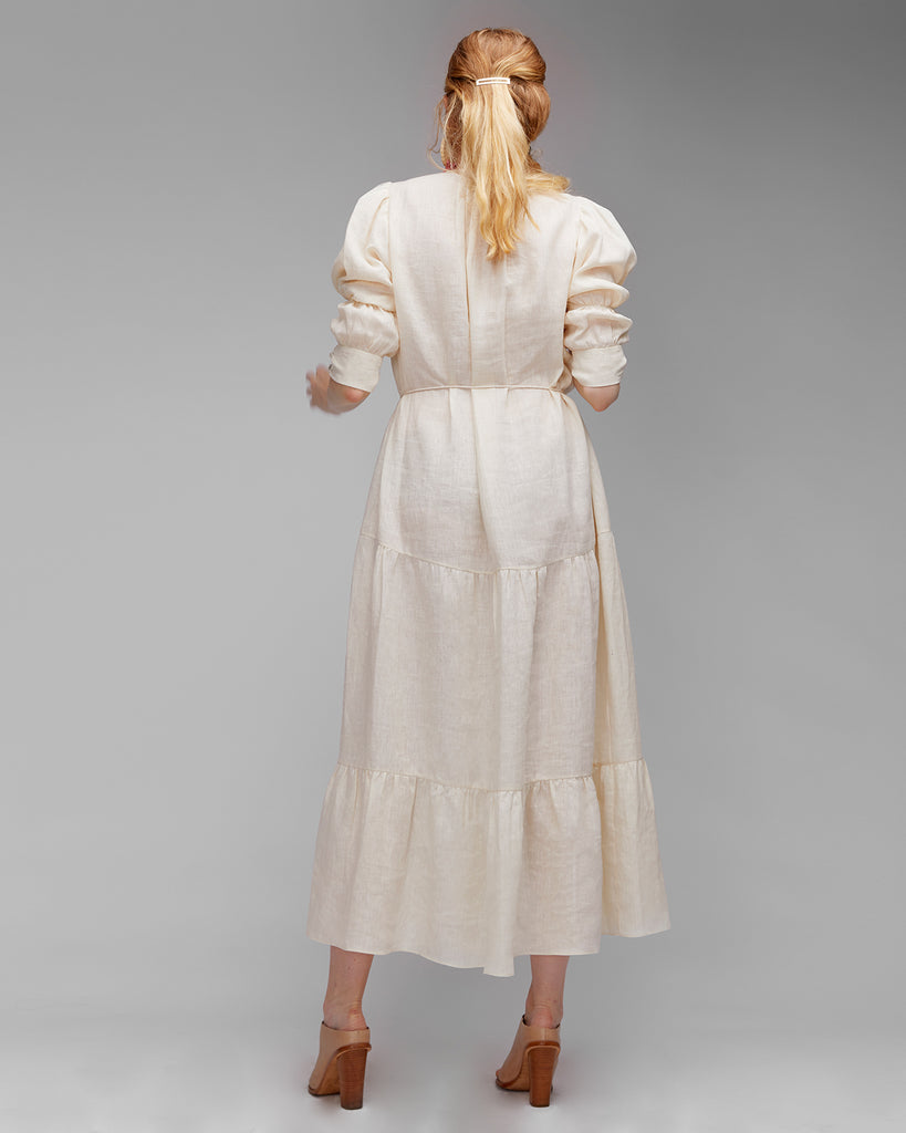 The Amal Dress in Cream Linen - INGA-LENA