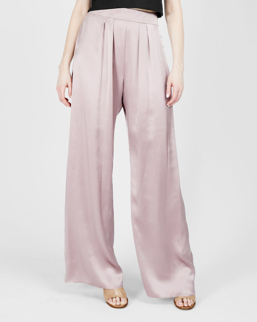 Bjorn Satin Trousers in Misty Rose
