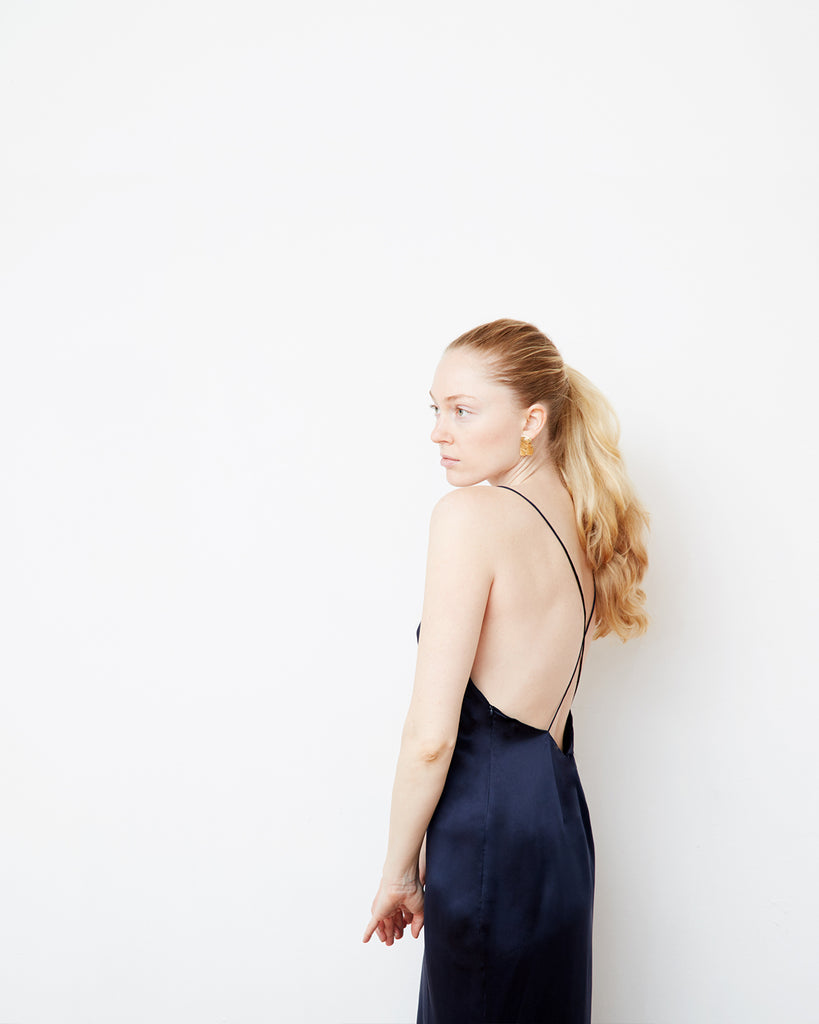 The Ebba Dress in Midnight Blue - INGA-LENA