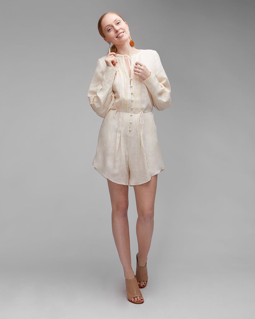 The Ludo Romper in Creme