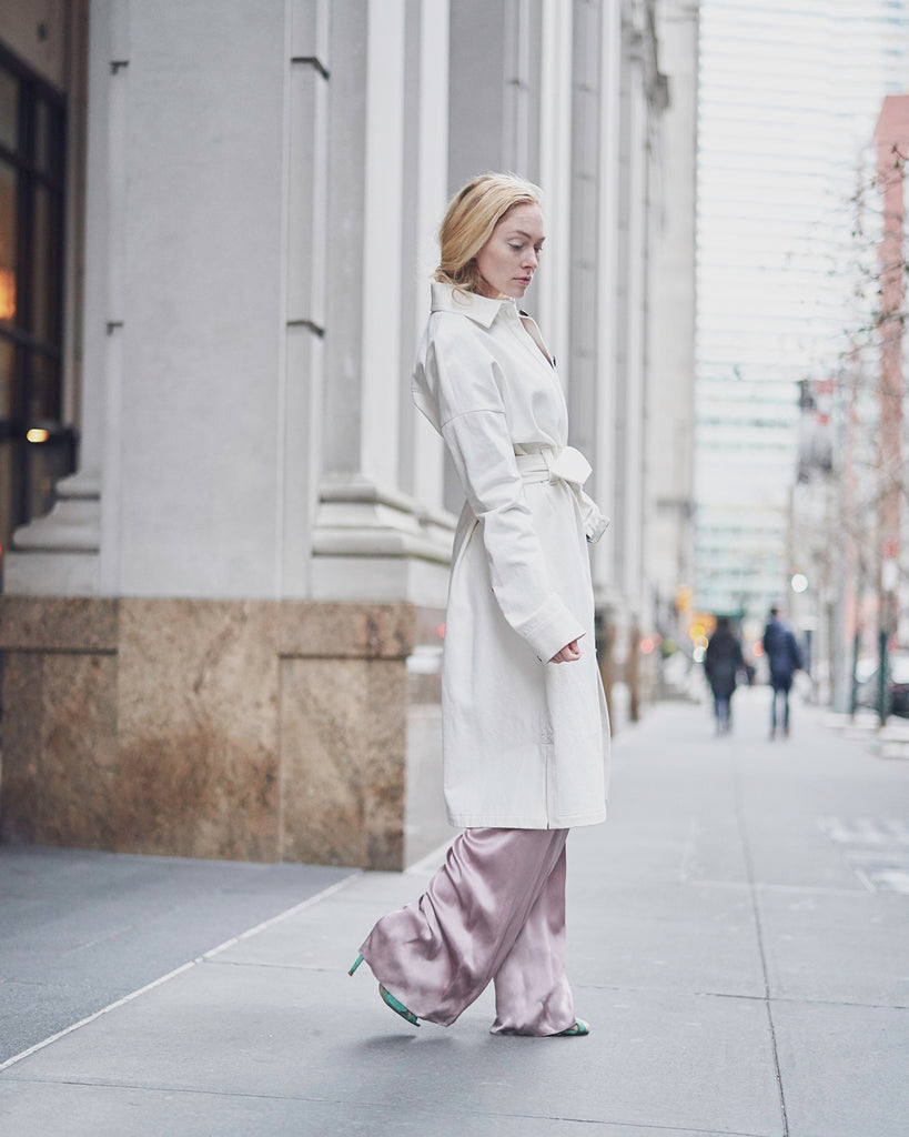 The Magda Trench in Off White Denim - INGA-LENA