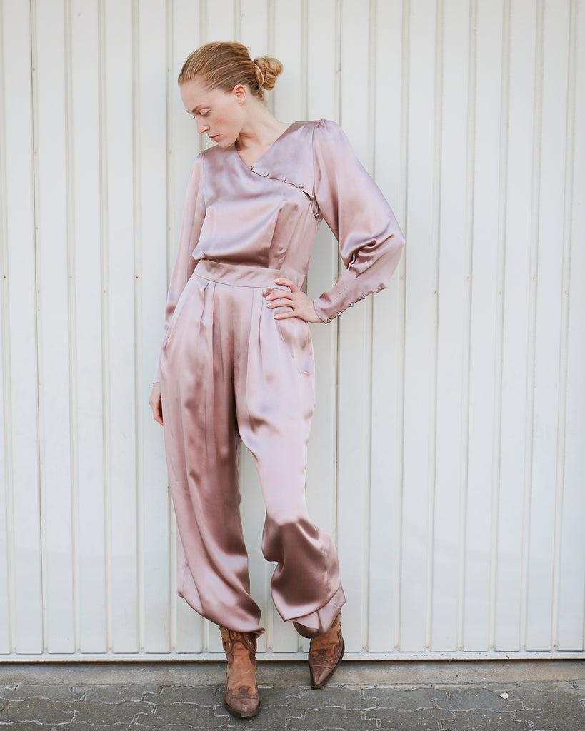 Pontus Silk Jumpsuit in Misty Rose
