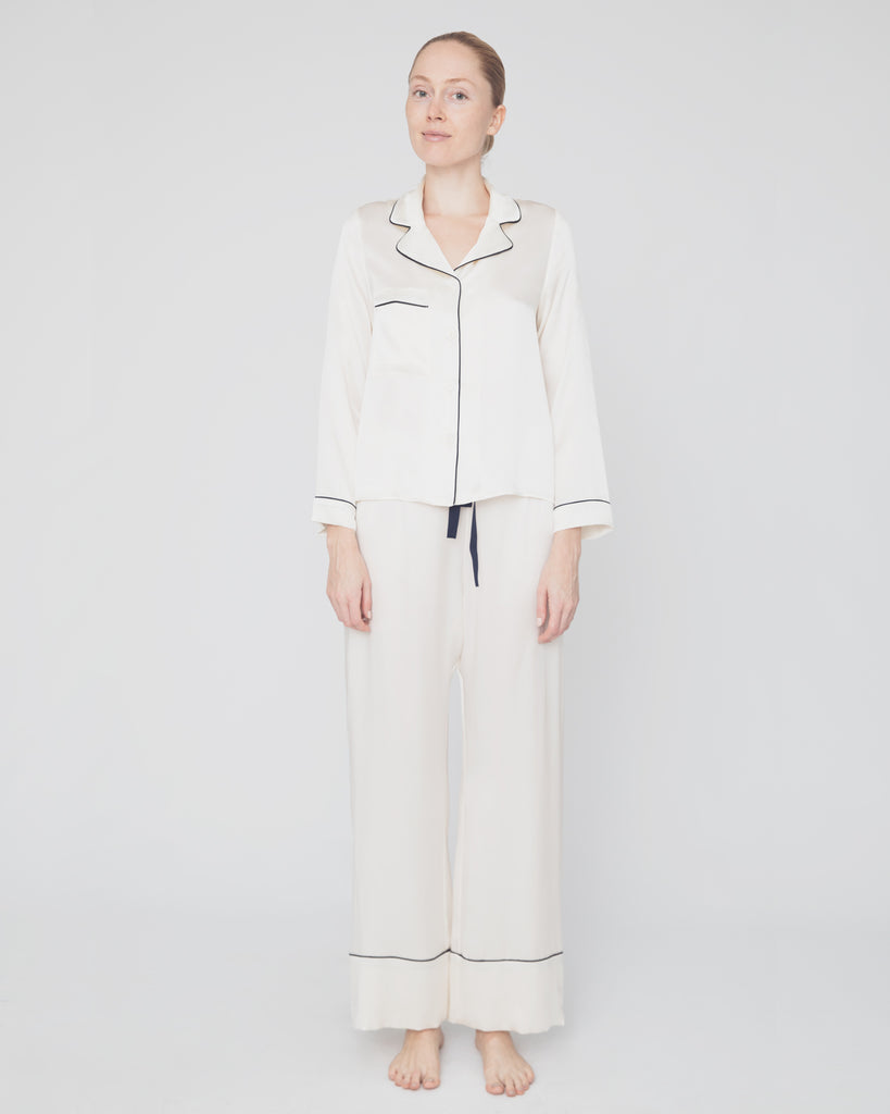The Cordi Pajama in Ivory - INGA-LENA