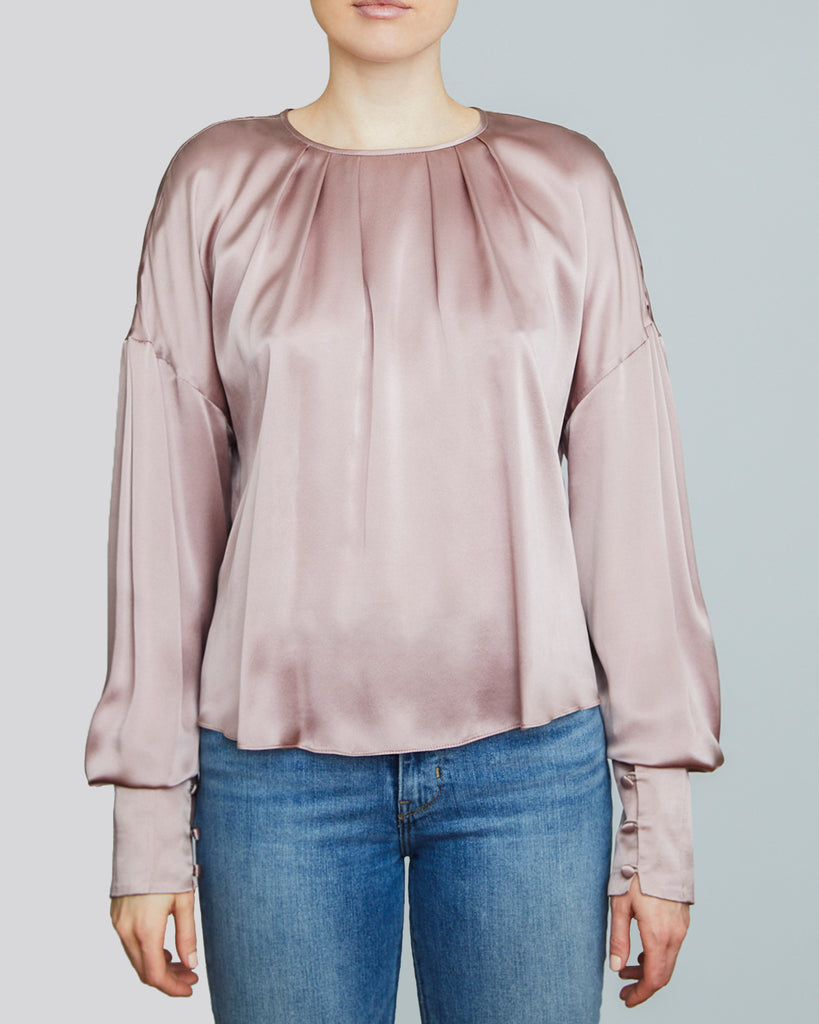 Ylva Satin Blouse in Misty Rose