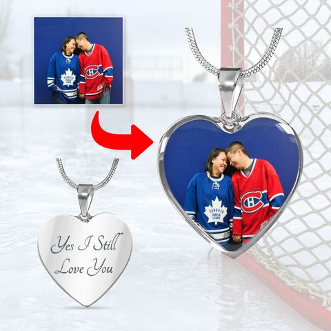 Personalized Hockey Heart Necklace